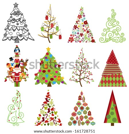 Vector Collection of Stylized Christmas Trees - stock vector