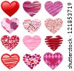 Vector Collection of Stylized Hearts - stock photo