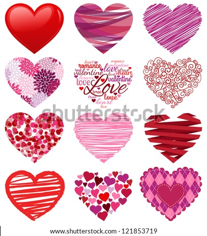 Vector Collection of Stylized Hearts