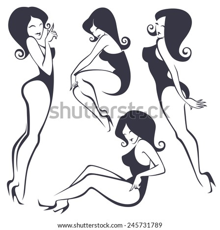 vector collection of stylized pinup girls in different poses - stock vector