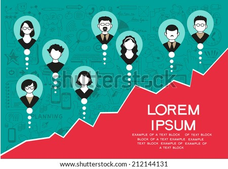 vector collection of success, office workers and business team. Infographic background - stock vector