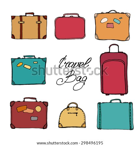 Vector Collection of suitcases. Travel Illustration isolated.