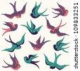 Vector Collection of Swallows - stock vector