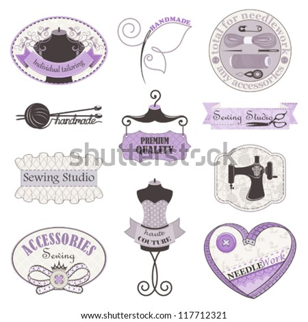 Vector collection of symbols, tools and accessories for needlework and sewing studio - stock vector