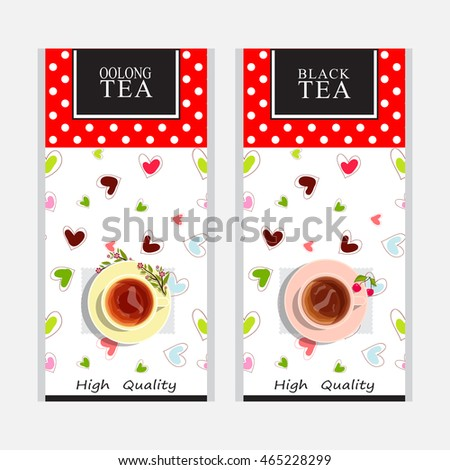 Vector collection of tea packages. Cute colored background or labels, stickers, paper packet design for black and oolong tea. Yellow and pink cups of tea, sweet hearts. Polka dot series 1 from 3