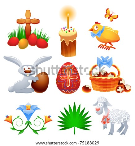 Vector collection of traditional Easter symbols and icons - stock vector