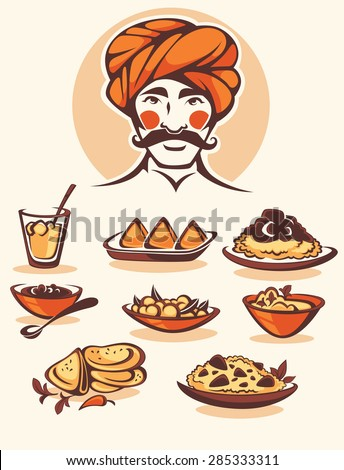 vector collection of traditional indian food and chef image - stock vector