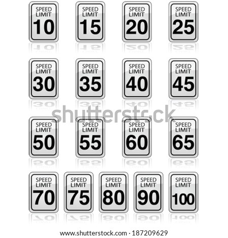 Vector collection of traffic signs showing different speed limits allowed