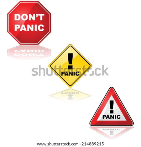 Vector collection of traffic signs with the word 'Panic' and the expression 'Don't panic' - stock vector