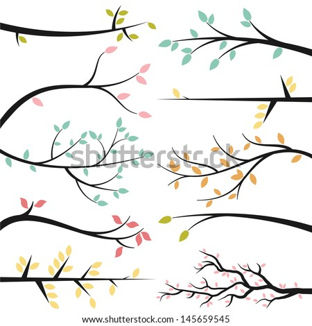 Vector Collection of Tree Branch Silhouettes - stock vector
