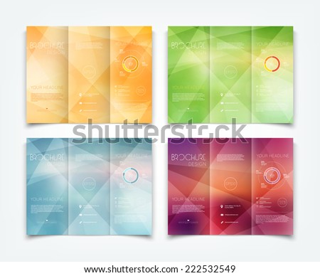 Vector collection of tri-fold brochure design templates with light geometric background - stock vector
