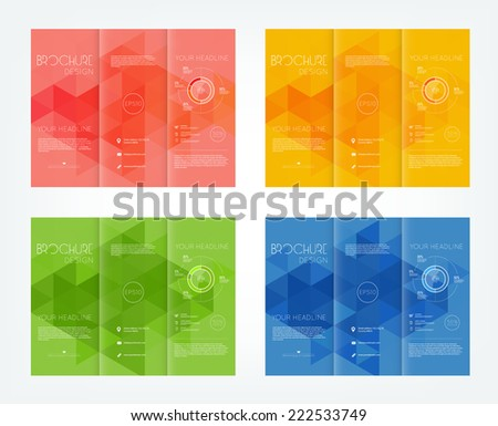 Vector collection of tri-fold brochure design templates with modern geometric triangular mosaic background - stock vector