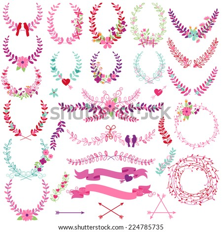 Vector Collection of Valentine's Day or Wedding Themed Laurels and Wreaths - stock vector