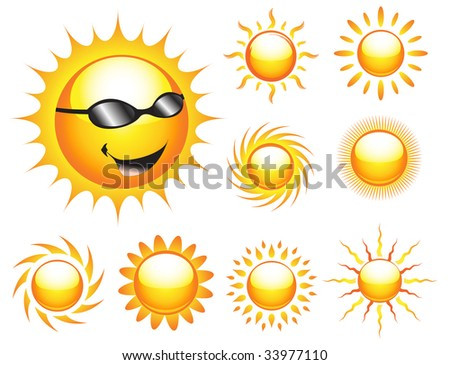 Vector collection of various suns - stock vector