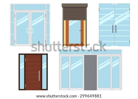 Vector collection of various types of modern entrance doors for office, home, store, mall, shop, supermarket. Isolated on white. Flat style. - stock vector