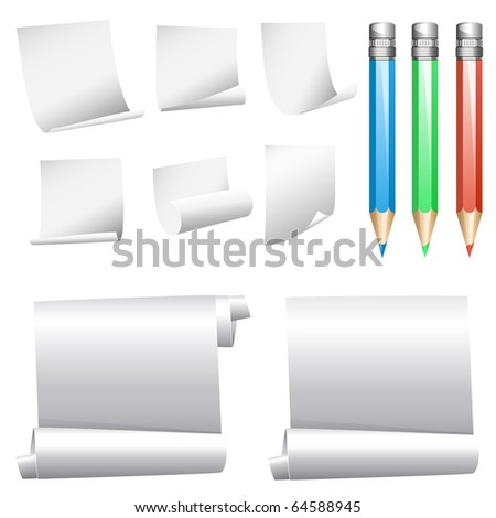 Vector collection of various white note papers - stock vector