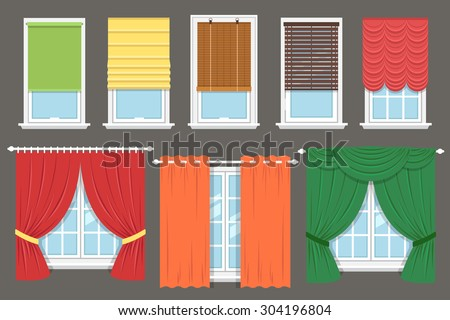 Vector Collection Various Window Treatments Curtains Stock