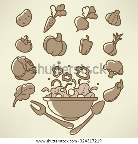 vector collection of vegetables images in doodle style - stock vector