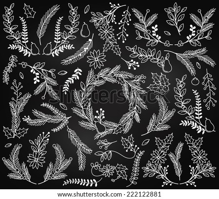 Vector Collection of Vintage Chalkboard Style Christmas Holiday Florals - stock vector
