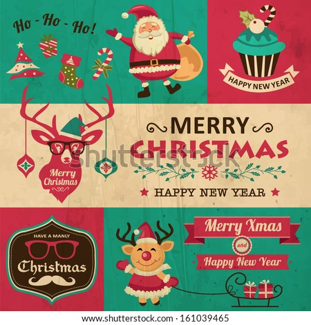 Vector collection of vintage Christmas symbols, icons and hipster elements - stock vector