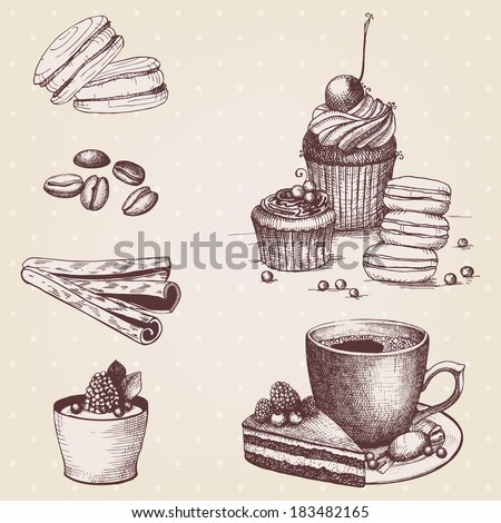 Vector collection of vintage hand drawn coffee and dessert illustrations - stock vector
