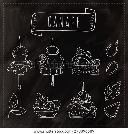 Vector collection of vintage party canapes; hand drawn vintage Illustration with canapes and finger-food, cheese and olive. Chalkboard design. - stock vector