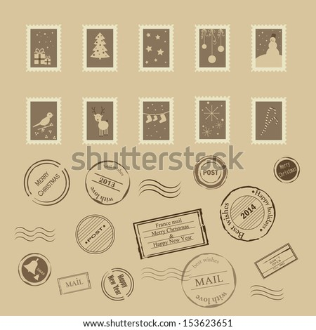 Vector collection of vintage post stamps for Christmas and New year holidays. Eps 10 - stock vector