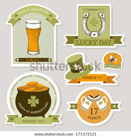 Vector collection of vintage stickers for St. Patrick's day with hand drawn elements - stock vector