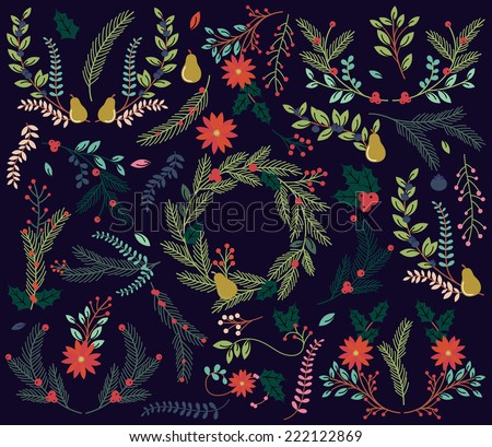 Vector Collection of Vintage Style Hand Drawn Christmas Holiday Florals - stock vector