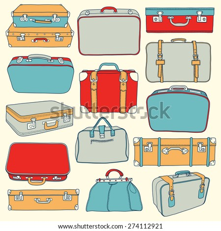 Vector Collection of vintage suitcases. Travel Illustration - stock vector
