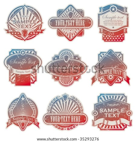 Vector collection of vintage usa labels - stock vector