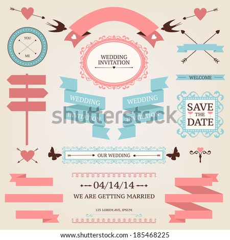Vector collection of vintage wedding objects and signs. Set of holiday decoration elements. - stock vector