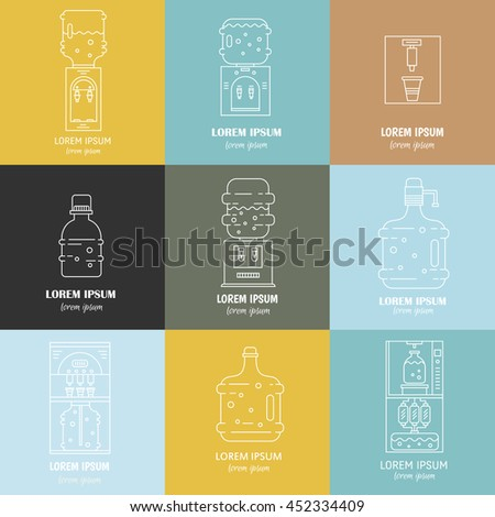 Vector collection of water cooler symbols - water bottles, water coolers and place for text. Label for business, website, mobile and app. Water bottle delivery icons. - stock vector