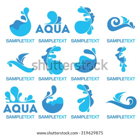 vector collection of water logo, icons and symbols - stock vector