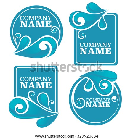 Vector Collection Water Stickers Symbols Your Stock Vector Hd