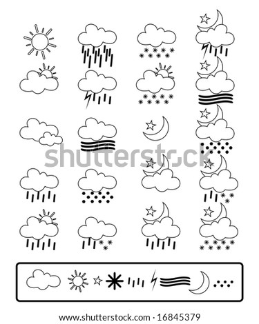Vector collection of weather icon set. Great for meteorology and nature purposes