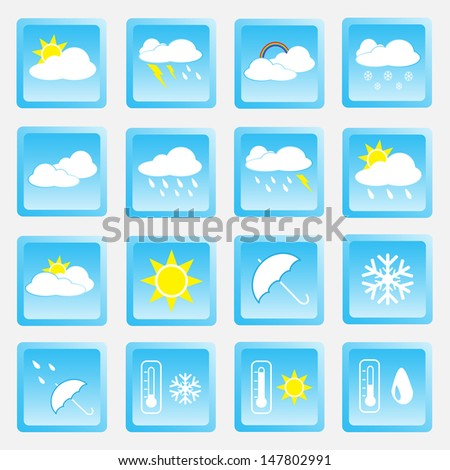 Vector collection of weather icons for web and mobile projects