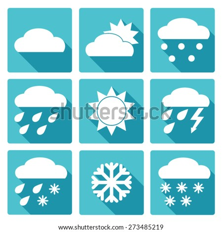 Vector Collection of Weather Icons in blue flat design style