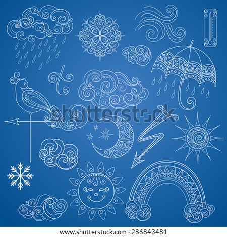 Vector Collection of Weather Signs in Fairytale Style. Set of Ornate Design Elements - stock vector
