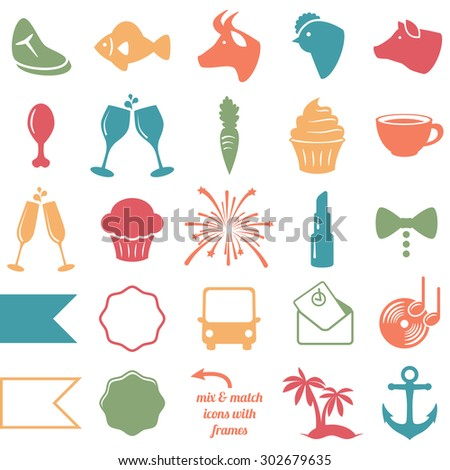 Vector Collection of Wedding and Party Themed Icons - stock vector