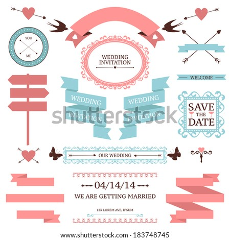 Vector collection of wedding  objects and signs. Set of holiday decoration elements isolated on white - stock vector