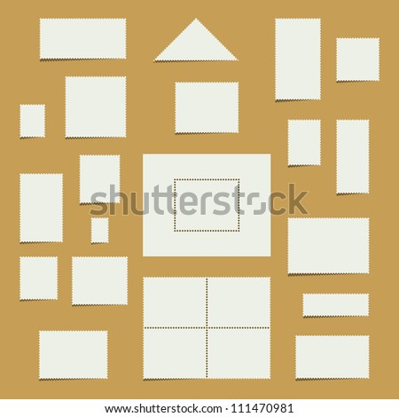 Vector collection of white blank postage stamps with copy space