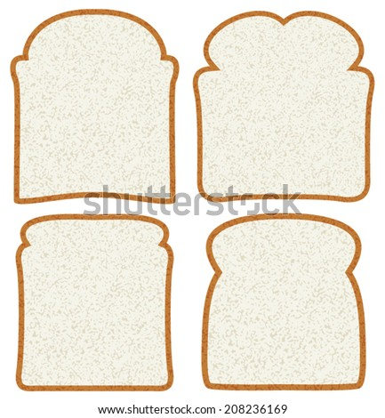 vector collection of white bread slices - stock vector