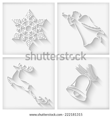Vector collection of white long shadows Christmas icons with  Christmas bell, flying angel, snowflake, deer - stock vector