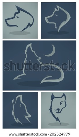 vector collection of wolf images - stock vector