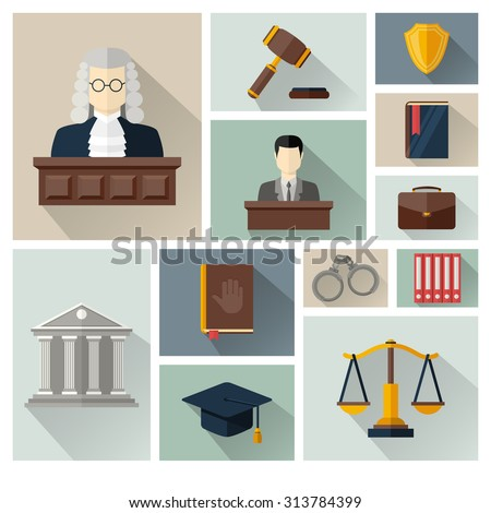 Vector collection or set of  law and justice icons sign symbol pictogram in flat style  with a Judge briefcase book hammer jurors handcuffs scales hat lawyer court building icon police oath and shadow - stock vector