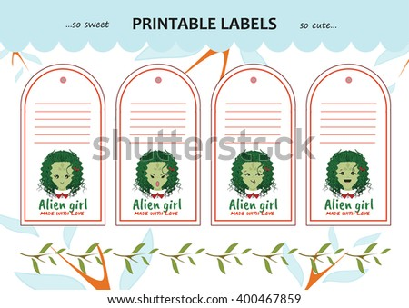 Vector collection printable gift tags, labels, stickers. Kawaii alien, monster girl. Emotions: happy, sly, angry, dreaming face. Blank space for your text included - stock vector