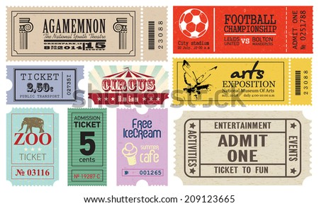 Vector collection (set) of Tickets - stock vector