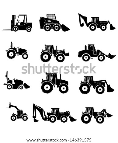 Vector collection tractor and gray silhouettes. icons - stock vector