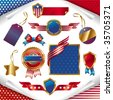 Vector collection: usa patriotic signs, labels, tags and emblem - stock photo